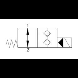 2/2 Wegeventil stromlos offen doppelt dicht. 24V/DC. 3/4-16UNF-Ø12,7 H7