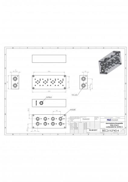 Anschlussplatte NG6 4-fach mit DBV VLP45-C-02-A