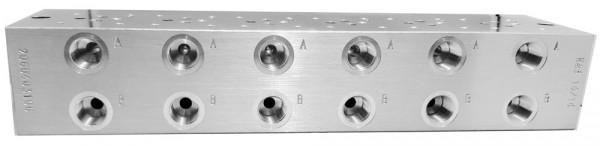 NG6 P+T Stirnseitig 1/2″ A+B 3/8″ Abgang A-Seite 6-fach Anschlussplatte