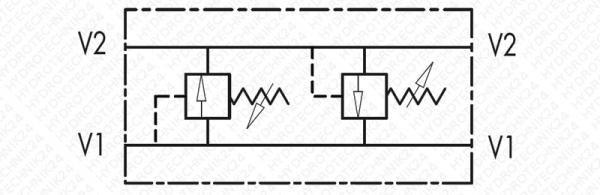 "Schockventilgehäuse doppelwirkend V1+V2 G1/2"""